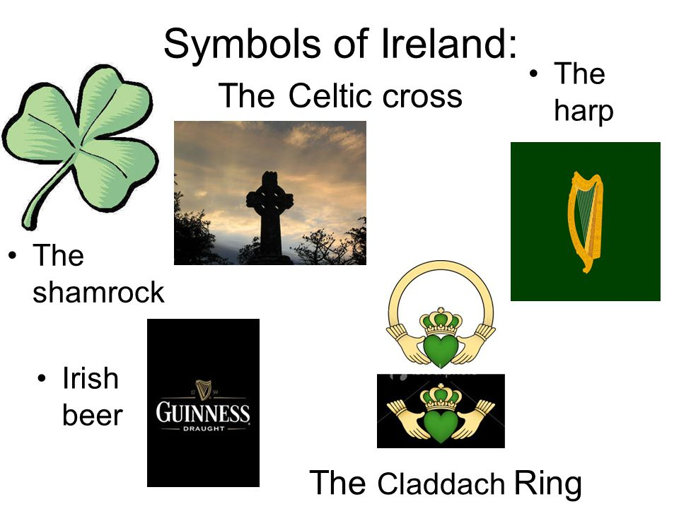 Symbols of Ireland: The Celtic cross The harp The shamrock Irish beer The Claddach Ring