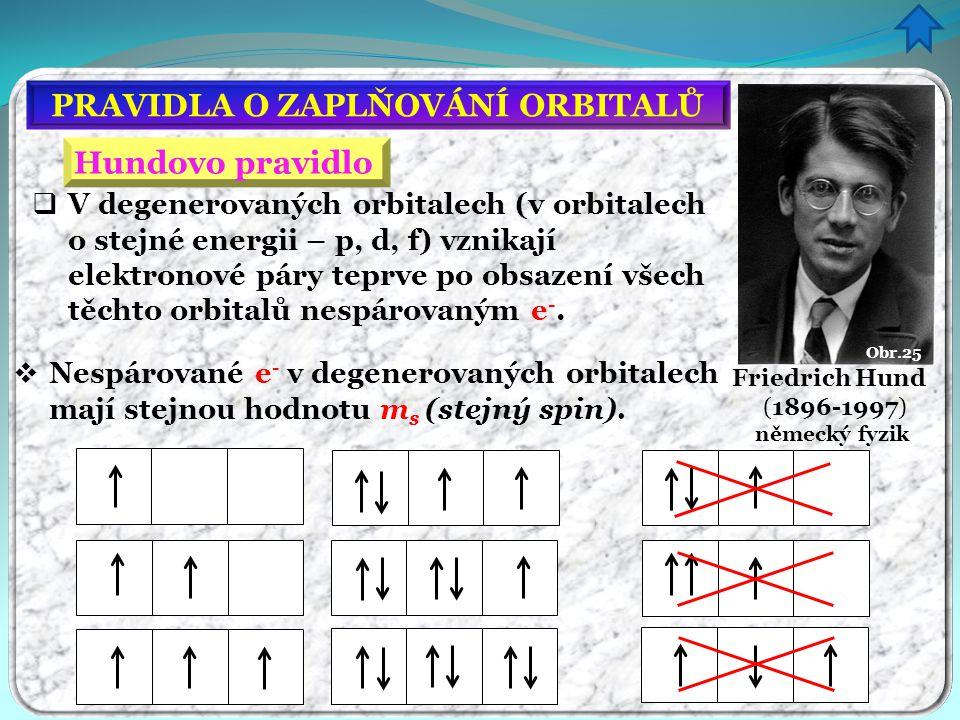 PRAVIDLA O ZAPLŇOVÁNÍ ORBITALŮ Hundovo pravidlo  V degenerovaných orbitalech (v orbitalech o stejné energii – p, d, f) vznikají elektronové páry tepr