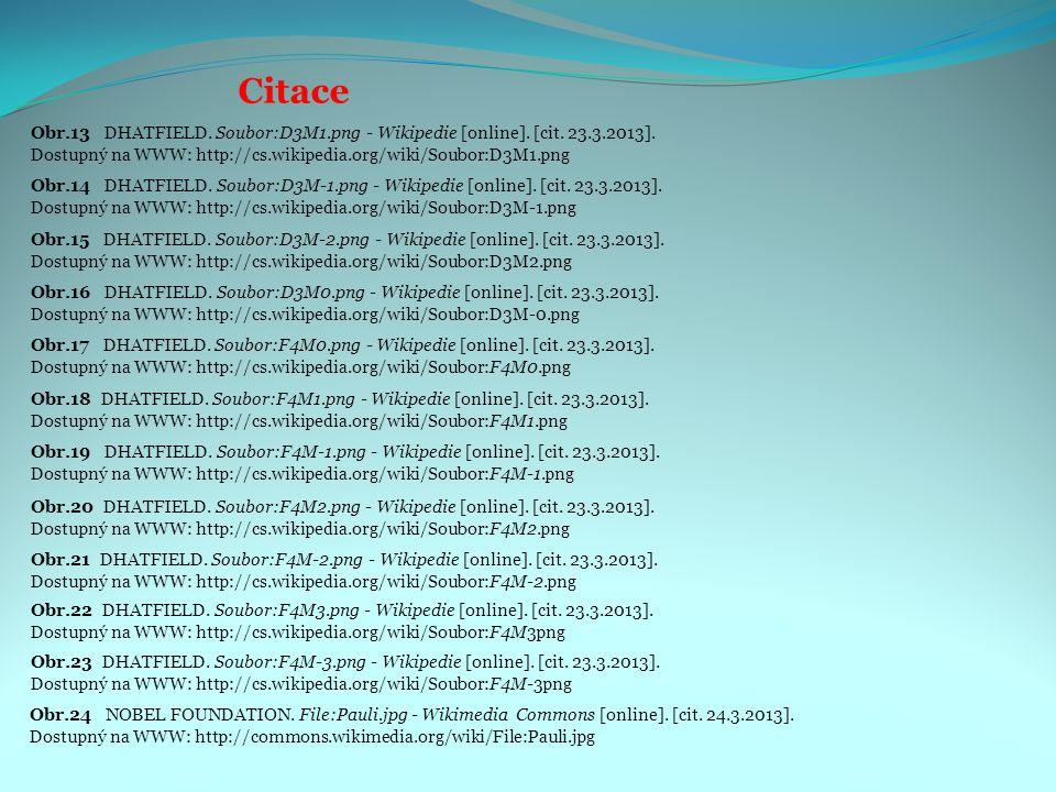 Citace Obr.14 DHATFIELD. Soubor:D3M-1.png - Wikipedie [online]. [cit. 23.3.2013]. Dostupný na WWW: http://cs.wikipedia.org/wiki/Soubor:D3M-1.png Obr.1