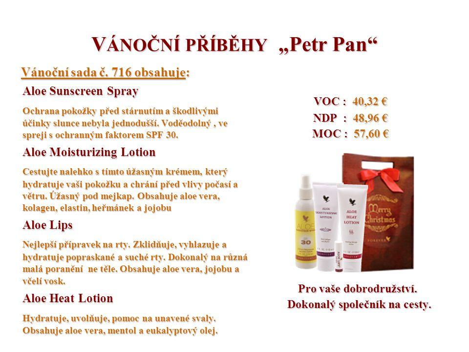 """V ÁNOČNÍ PŘÍBĚHY """"Petr Pan"""" Vánoční sada č. 716 obsahuje: Vánoční sada č. 716 obsahuje: Aloe Sunscreen Spray Ochrana pokožky před stárnutím a škodlivý"""