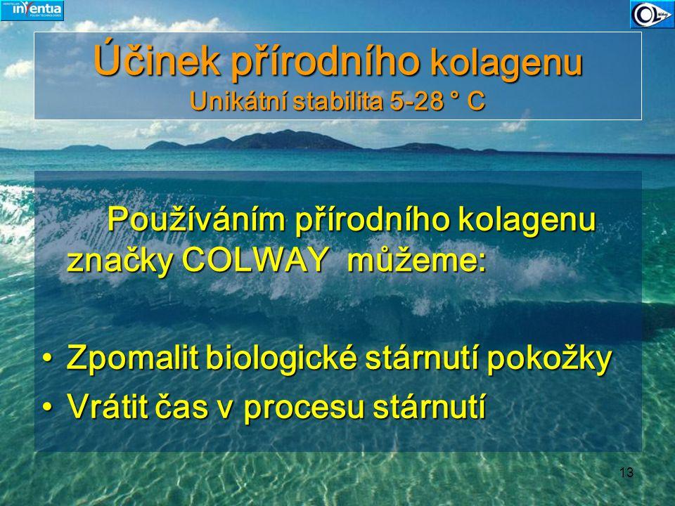 13 Účinek přírodního kolagenu Unikátní stabilita 5-28 ° C Používáním přírodního kolagenu značky COLWAY můžeme: Používáním přírodního kolagenu značky C