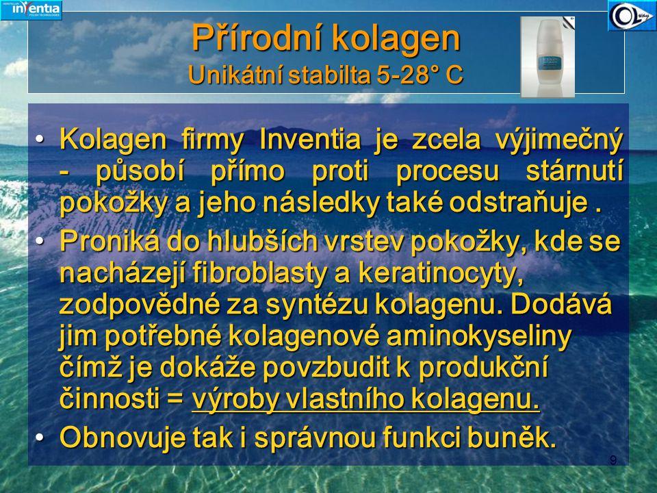 9 Přírodní kolagen Unikátní stabilta 5-28° C Kolagen firmy Inventia je zcela výjimečný - působí přímo proti procesu stárnutí pokožky a jeho následky t