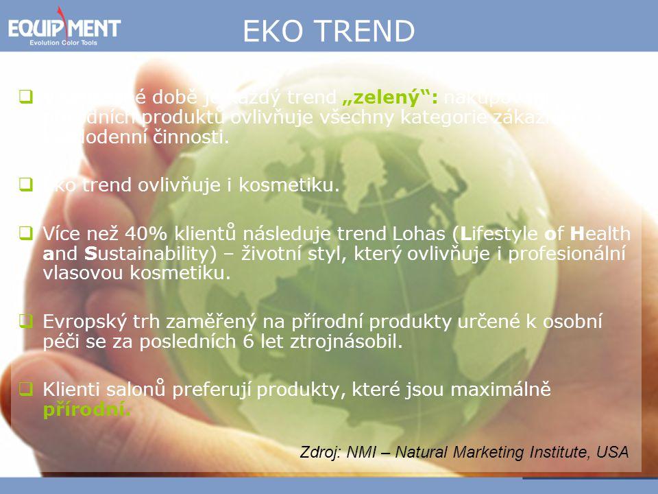 """EKO TREND  V současné době je každý trend """"zelený"""": nakupování přírodních produktů ovlivňuje všechny kategorie zákazníků a každodenní činnosti.  Eko"""