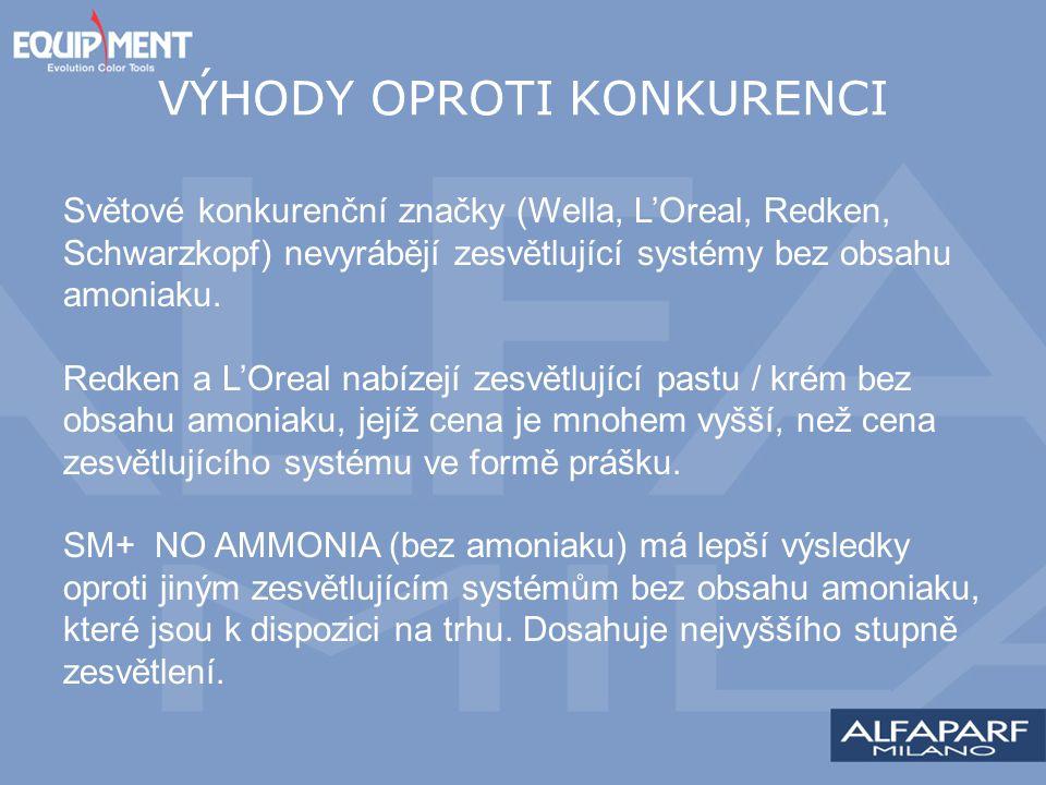 VÝHODY OPROTI KONKURENCI Světové konkurenční značky (Wella, L'Oreal, Redken, Schwarzkopf) nevyrábějí zesvětlující systémy bez obsahu amoniaku. Redken