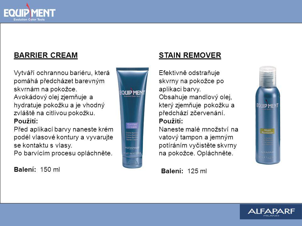 STAIN REMOVER Efektivně odstraňuje skvrny na pokožce po aplikaci barvy. Obsahuje mandlový olej, který zjemňuje pokožku a předchází zčervenání. Použití