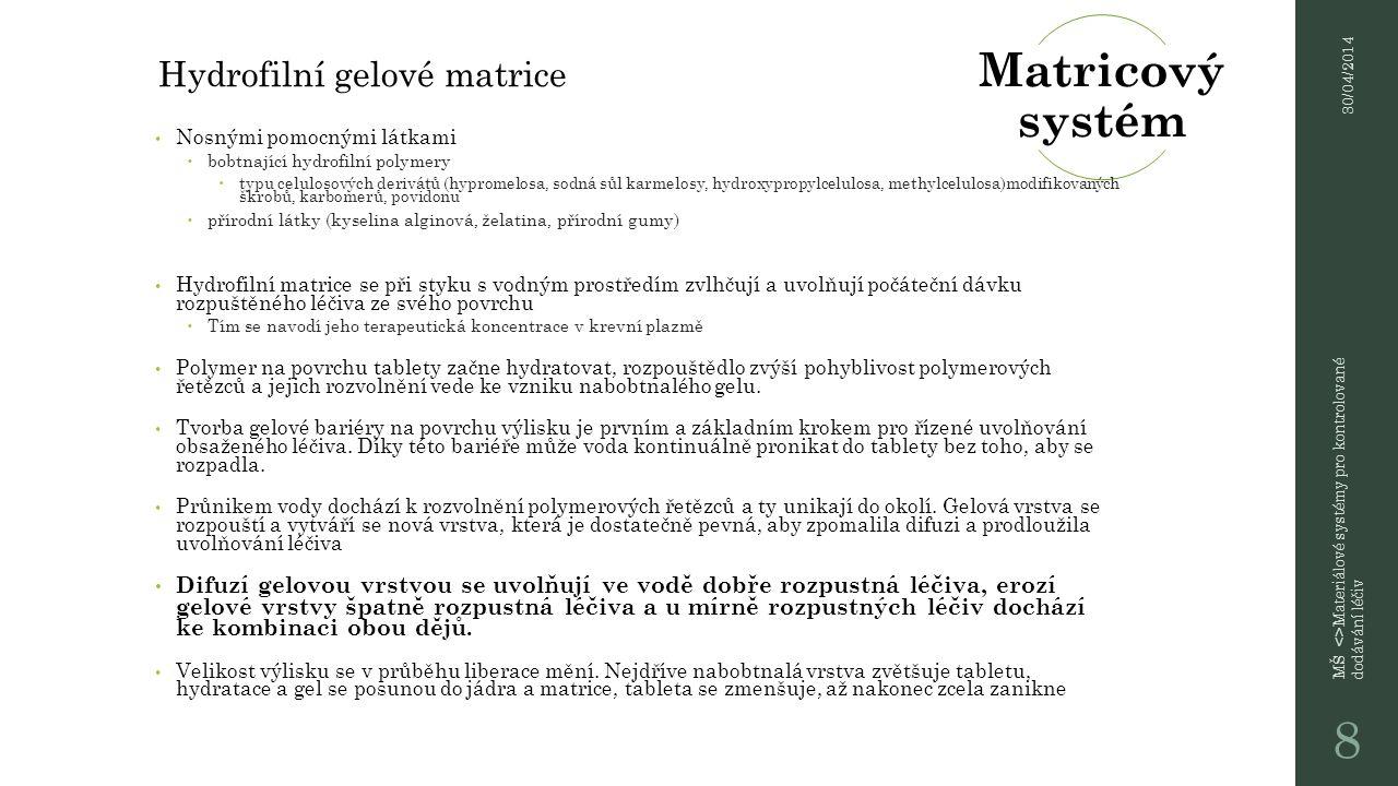 Tyto matrice mají široké uplatnění, jejich výhodou je jednoduchost výroby, malá finanční náročnost technologie a rozumná cena pomocných látek 30/04/2014 MŠ <>Materiálové systémy pro kontrolované dodávání léčiv 9