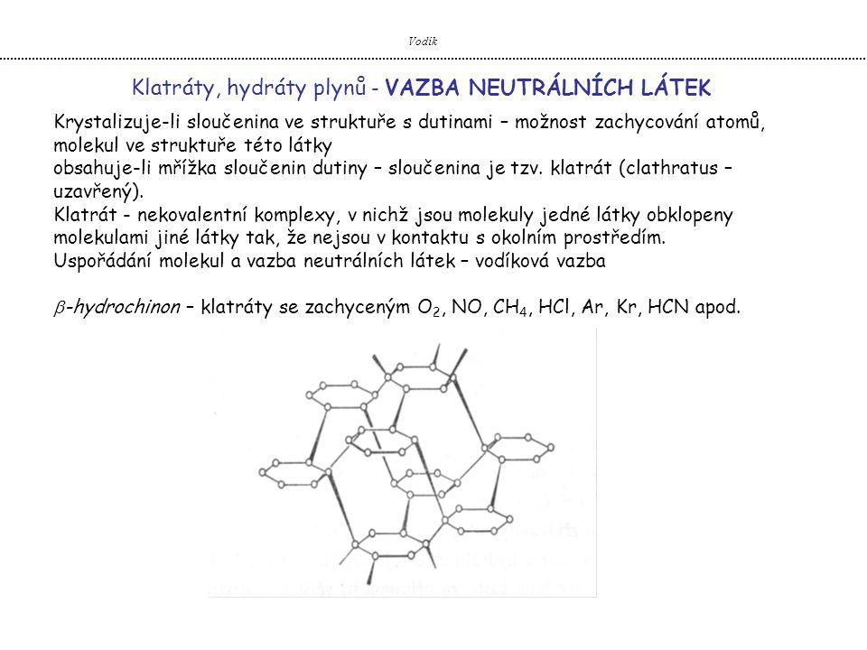 Vodík Klatráty, hydráty plynů - VAZBA NEUTRÁLNÍCH LÁTEK Krystalizuje-li sloučenina ve struktuře s dutinami – možnost zachycování atomů, molekul ve str