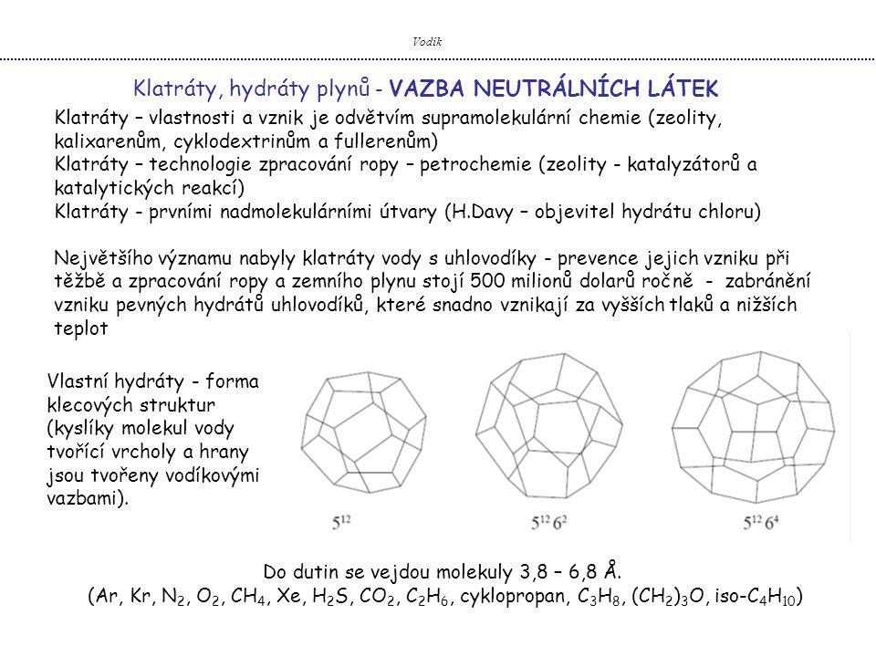 Vodík Klatráty, hydráty plynů - VAZBA NEUTRÁLNÍCH LÁTEK Klatráty – vlastnosti a vznik je odvětvím supramolekulární chemie (zeolity, kalixarenům, cyklodextrinům a fullerenům) Klatráty – technologie zpracování ropy – petrochemie (zeolity - katalyzátorů a katalytických reakcí) Klatráty - prvními nadmolekulárními útvary (H.Davy – objevitel hydrátu chloru) Největšího významu nabyly klatráty vody s uhlovodíky - prevence jejich vzniku při těžbě a zpracování ropy a zemního plynu stojí 500 milionů dolarů ročně - zabránění vzniku pevných hydrátů uhlovodíků, které snadno vznikají za vyšších tlaků a nižších teplot Vlastní hydráty - forma klecových struktur (kyslíky molekul vody tvořící vrcholy a hrany jsou tvořeny vodíkovými vazbami).