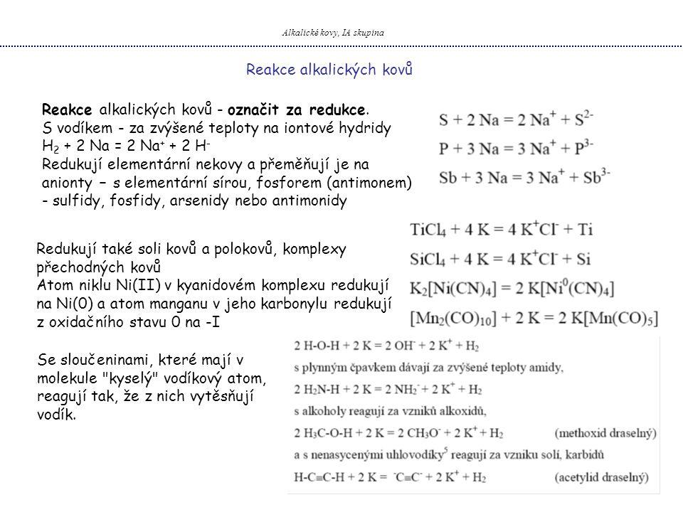 Alkalické kovy, IA skupina Reakce alkalických kovů - označit za redukce. S vodíkem - za zvýšené teploty na iontové hydridy H 2 + 2 Na = 2 Na + + 2 H -