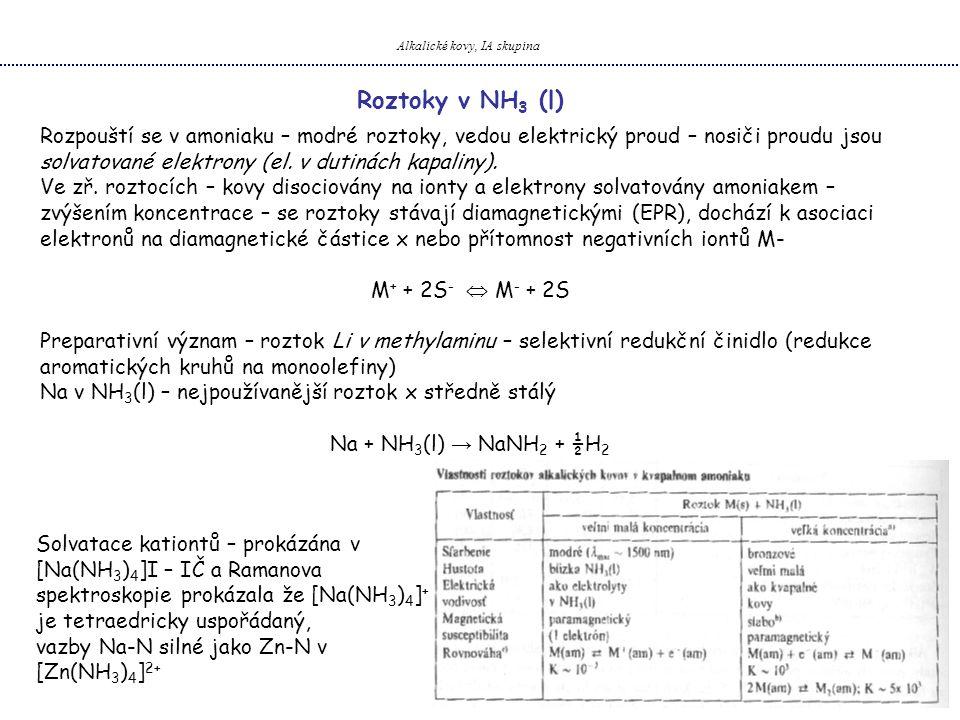 Alkalické kovy, IA skupina Roztoky v NH 3 (l) Rozpouští se v amoniaku – modré roztoky, vedou elektrický proud – nosiči proudu jsou solvatované elektrony (el.