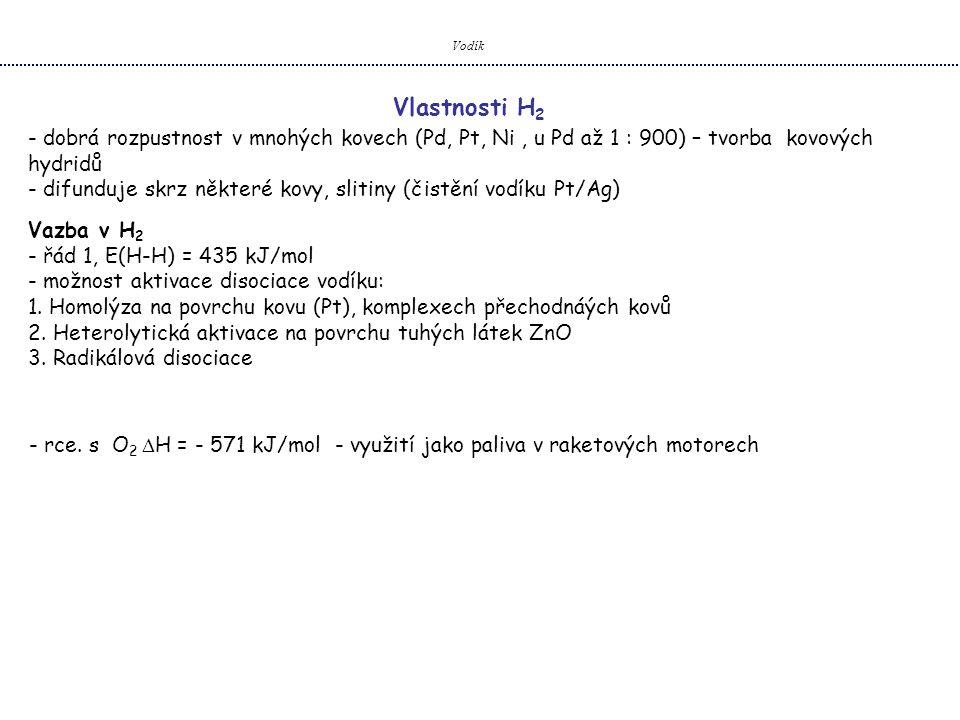 Vodík Vlastnosti H 2 - dobrá rozpustnost v mnohých kovech (Pd, Pt, Ni, u Pd až 1 : 900) – tvorba kovových hydridů - difunduje skrz některé kovy, sliti