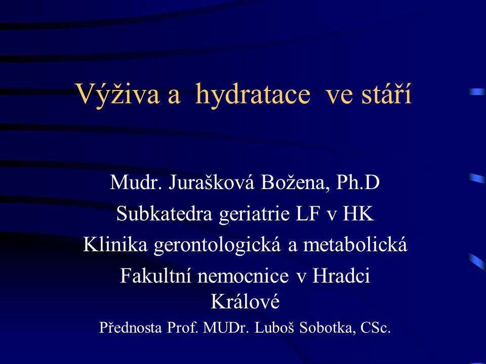 Výživa a hydratace ve stáří Mudr. Jurašková Božena, Ph.D Subkatedra geriatrie LF v HK Klinika gerontologická a metabolická Fakultní nemocnice v Hradci