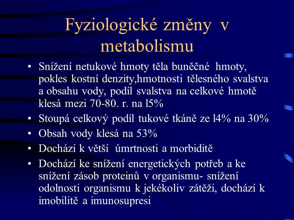 Fyziologické změny v metabolismu Snížení netukové hmoty těla buněčné hmoty, pokles kostní denzity,hmotnosti tělesného svalstva a obsahu vody, podíl sv
