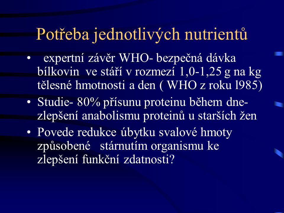 Potřeba jednotlivých nutrientů expertní závěr WHO- bezpečná dávka bílkovin ve stáří v rozmezí 1,0-1,25 g na kg tělesné hmotnosti a den ( WHO z roku l9
