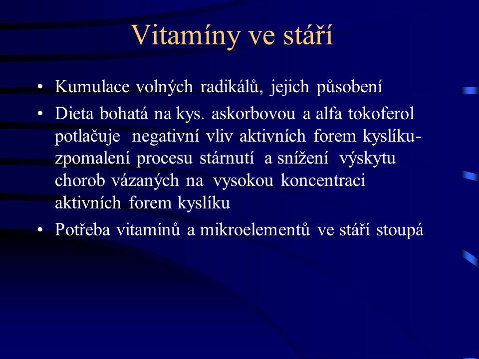 Vitamíny ve stáří Kumulace volných radikálů, jejich působení Dieta bohatá na kys. askorbovou a alfa tokoferol potlačuje negativní vliv aktivních forem