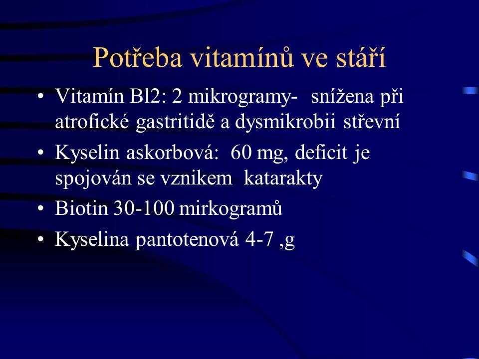 Potřeba vitamínů ve stáří Vitamín Bl2: 2 mikrogramy- snížena při atrofické gastritidě a dysmikrobii střevní Kyselin askorbová: 60 mg, deficit je spojo