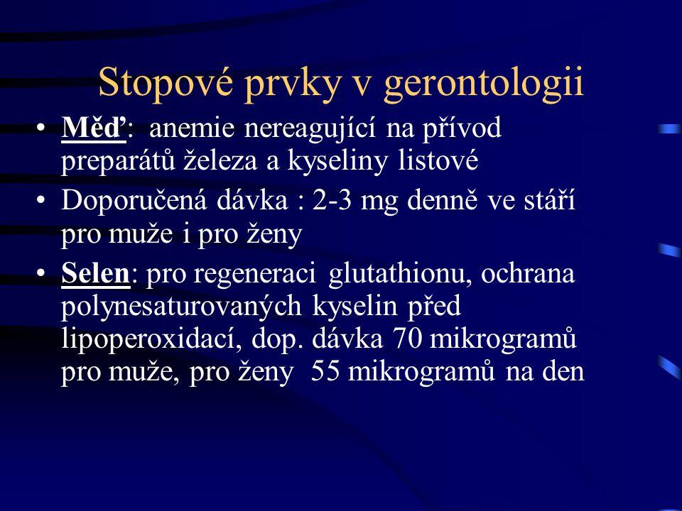 Stopové prvky v gerontologii Měď: anemie nereagující na přívod preparátů železa a kyseliny listové Doporučená dávka : 2-3 mg denně ve stáří pro muže i