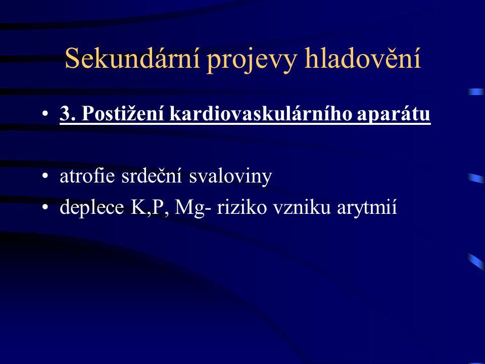 Sekundární projevy hladovění 3. Postižení kardiovaskulárního aparátu atrofie srdeční svaloviny deplece K,P, Mg- riziko vzniku arytmií