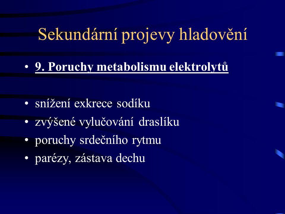Sekundární projevy hladovění 9. Poruchy metabolismu elektrolytů snížení exkrece sodíku zvýšené vylučování draslíku poruchy srdečního rytmu parézy, zás