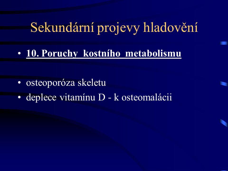 Sekundární projevy hladovění 10. Poruchy kostního metabolismu osteoporóza skeletu deplece vitamínu D - k osteomalácii