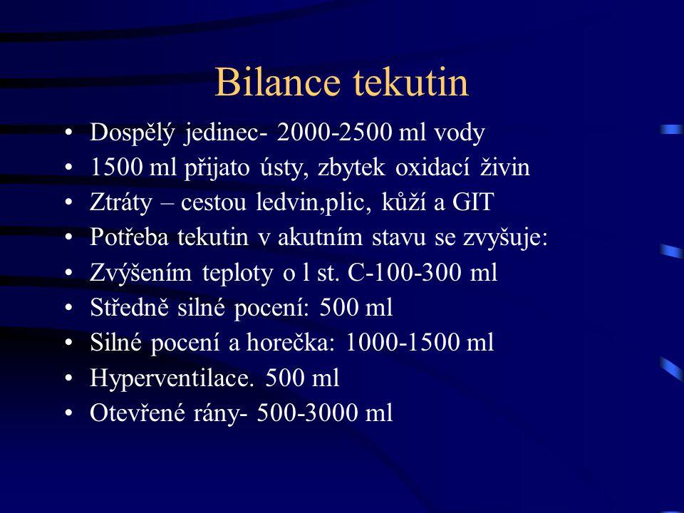 Bilance tekutin Dospělý jedinec- 2000-2500 ml vody 1500 ml přijato ústy, zbytek oxidací živin Ztráty – cestou ledvin,plic, kůží a GIT Potřeba tekutin
