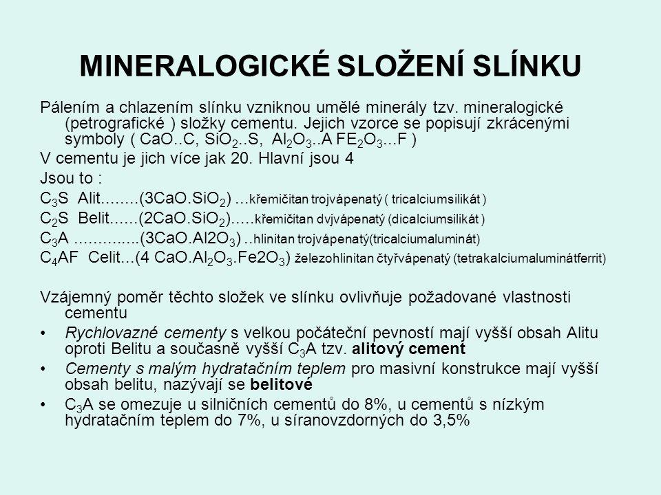 MINERALOGICKÉ SLOŽENÍ SLÍNKU Pálením a chlazením slínku vzniknou umělé minerály tzv. mineralogické (petrografické ) složky cementu. Jejich vzorce se p