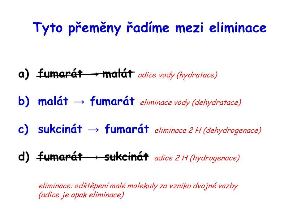Tyto přeměny řadíme mezi eliminace a)fumarát → malát adice vody (hydratace) b)malát → fumarát eliminace vody (dehydratace) c)sukcinát → fumarát elimin