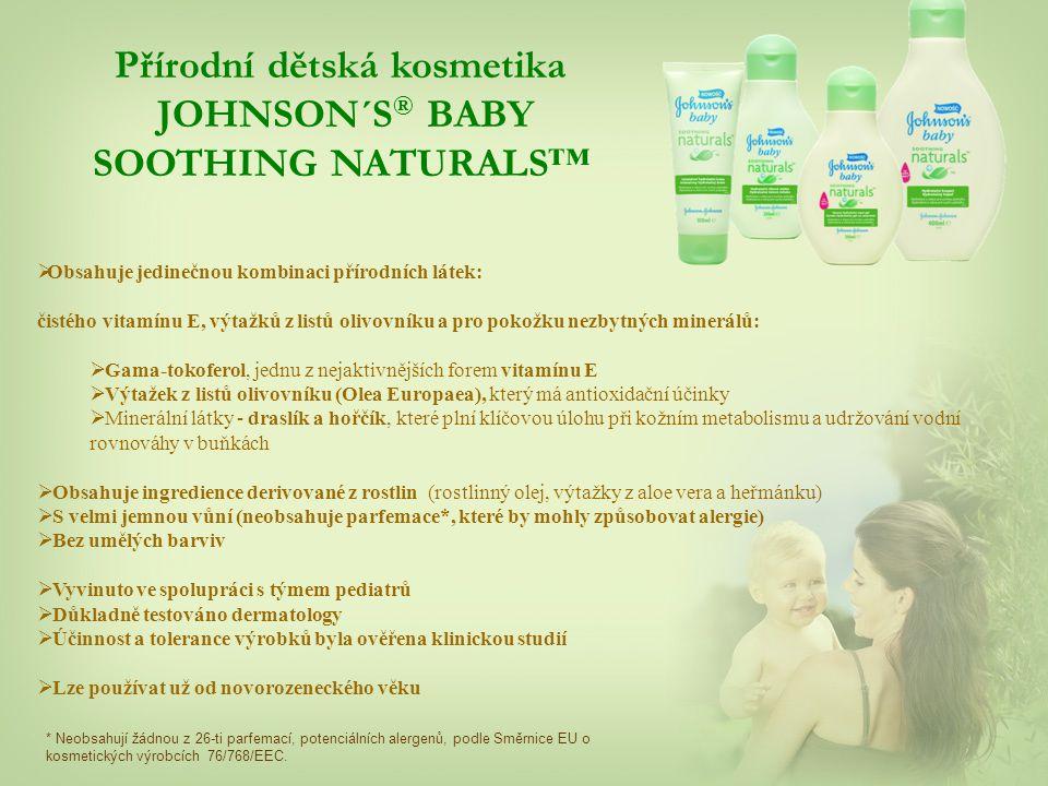  Obsahuje jedinečnou kombinaci přírodních látek: čistého vitamínu E, výtažků z listů olivovníku a pro pokožku nezbytných minerálů:  Gama-tokoferol, jednu z nejaktivnějších forem vitamínu E  Výtažek z listů olivovníku (Olea Europaea), který má antioxidační účinky  Minerální látky - draslík a hořčík, které plní klíčovou úlohu při kožním metabolismu a udržování vodní rovnováhy v buňkách  Obsahuje ingredience derivované z rostlin (rostlinný olej, výtažky z aloe vera a heřmánku)  S velmi jemnou vůní (neobsahuje parfemace*, které by mohly způsobovat alergie)  Bez umělých barviv  Vyvinuto ve spolupráci s týmem pediatrů  Důkladně testováno dermatology  Účinnost a tolerance výrobků byla ověřena klinickou studií  Lze používat už od novorozeneckého věku * Neobsahují žádnou z 26-ti parfemací, potenciálních alergenů, podle Směrnice EU o kosmetických výrobcích 76/768/EEC.