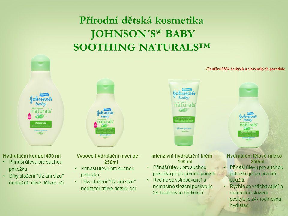 Přírodní dětská kosmetika JOHNSON´S ® BABY SOOTHING NATURALS™ Hydratační koupel 400 ml Přináší úlevu pro suchou pokožku.