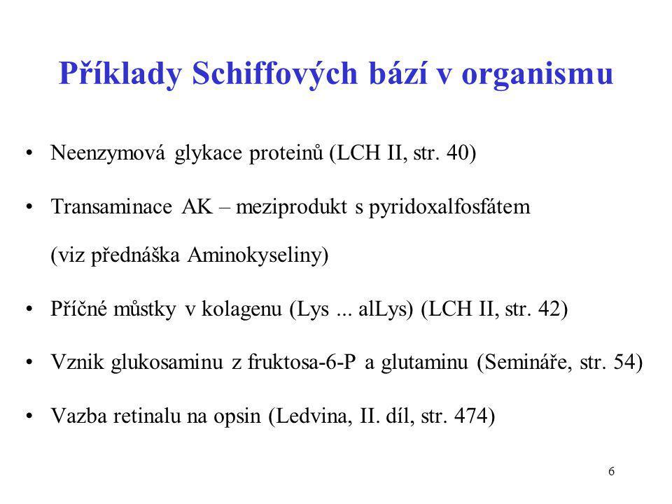 47 Dehydrogenace aminosloučenin R-CH 2 -NH 2 + FMN  R-CH=NH + FMNH 2 amin imin 2-aminokyselina 2-iminokyselina iminoskupina >C=NH
