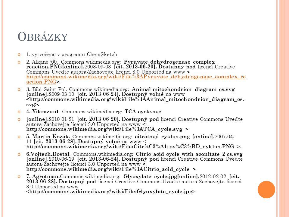 O BRÁZKY 1. vytvořeno v programu ChemSketch 2. Alkane700. Commons.wikimedia.org: Pyruvate dehydrogenase complex reaction.PNG[online]. 2008-09-03 [cit.