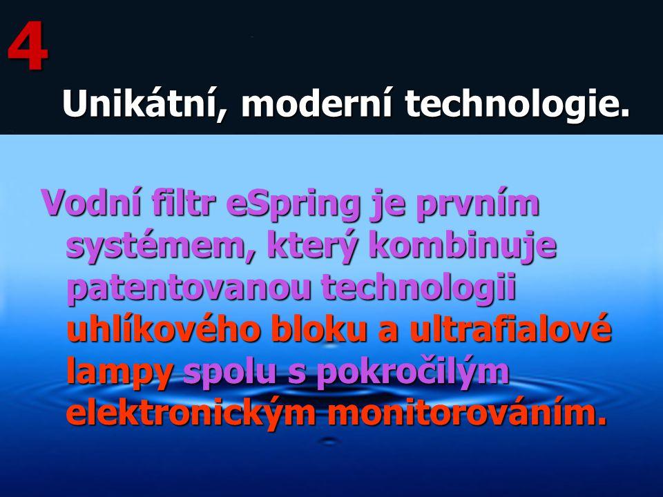 Vodní filtr eSpring je prvním systémem, který kombinuje patentovanou technologii uhlíkového bloku a ultrafialové lampy spolu s pokročilým elektronický