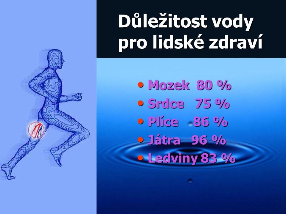 Důležitost vody pro lidské zdraví Mozek 80 % Mozek 80 % Srdce 75 % Srdce 75 % Plíce 86 % Plíce 86 % Játra 96 % Játra 96 % Ledviny 83 % Ledviny 83 %