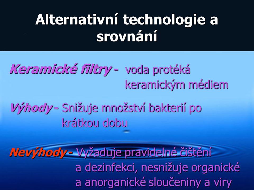 Alternativní technologie a srovnání Keramické filtry - voda protéká keramickým médiem keramickým médiem Výhody - Snižuje množství bakterií po krátkou
