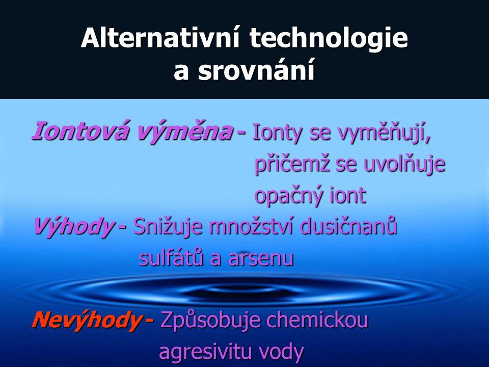 Alternativní technologie a srovnání Iontová výměna - Ionty se vyměňují, přičemž se uvolňuje přičemž se uvolňuje opačný iont opačný iont Výhody - Snižu