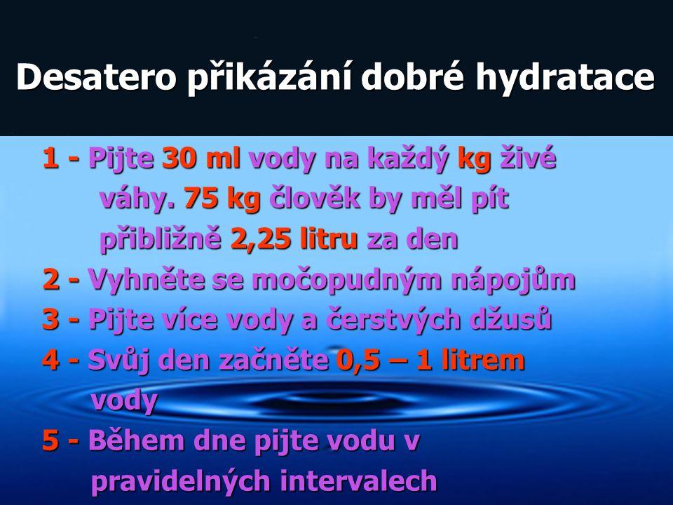 Desatero přikázání dobré hydratace Desatero přikázání dobré hydratace 1 - Pijte 30 ml vody na každý kg živé váhy. 75 kg člověk by měl pít váhy. 75 kg