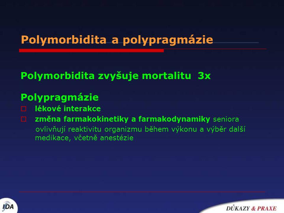 Polymorbidita a polypragmázie Polymorbidita zvyšuje mortalitu 3x Polypragmázie  lékové interakce  změna farmakokinetiky a farmakodynamiky seniora ov