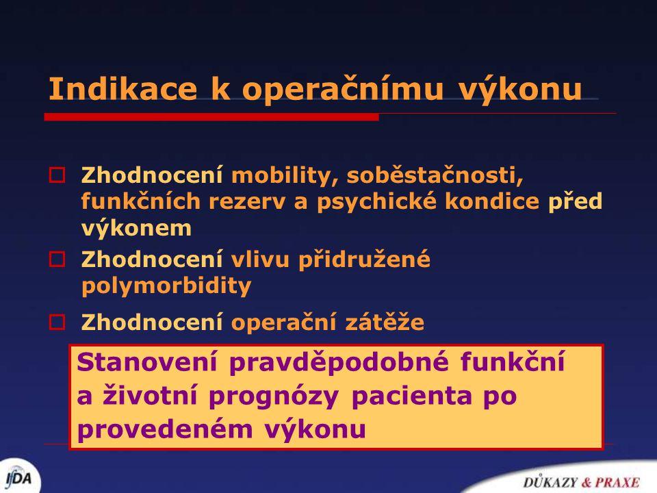 Indikace k operačnímu výkonu  Zhodnocení mobility, soběstačnosti, funkčních rezerv a psychické kondice před výkonem  Zhodnocení vlivu přidružené pol