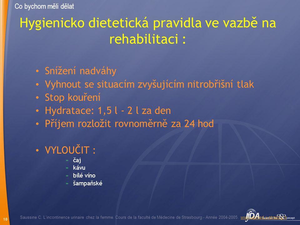 10 Hygienicko dietetická pravidla ve vazbě na rehabilitaci : Snížení nadváhy Vyhnout se situacím zvyšujícím nitrobřišní tlak Stop kouření Hydratace: 1
