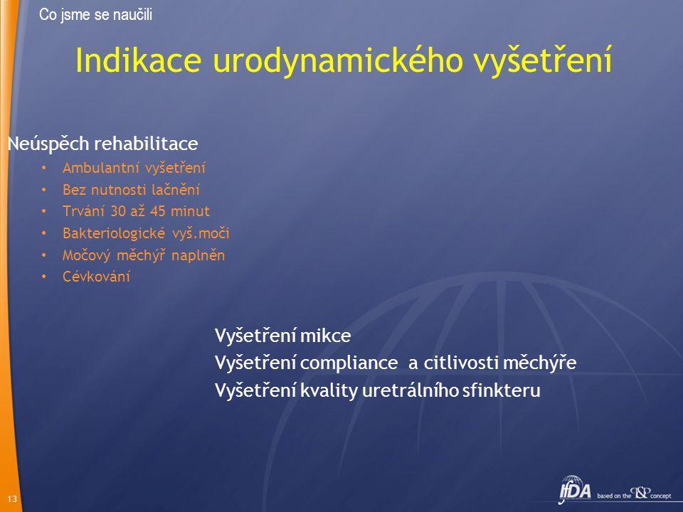 13 Indikace urodynamického vyšetření Neúspěch rehabilitace Ambulantní vyšetření Bez nutnosti lačnění Trvání 30 až 45 minut Bakteriologické vyš.moči Mo