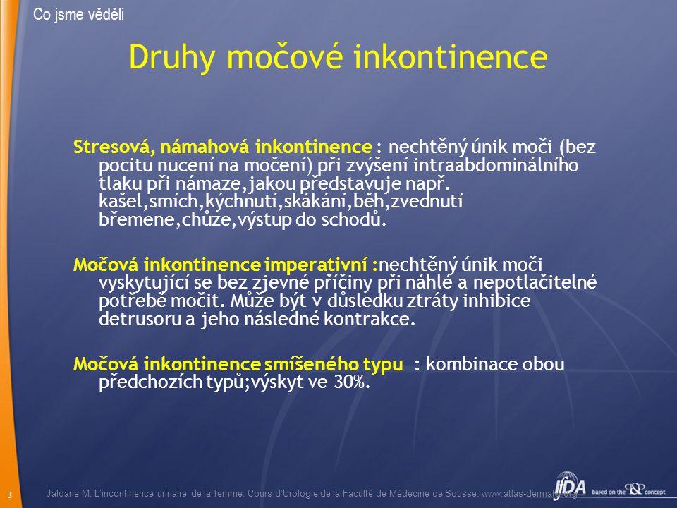 3 Druhy močové inkontinence Stresová, námahová inkontinence : nechtěný únik moči (bez pocitu nucení na močení) při zvýšení intraabdominálního tlaku př