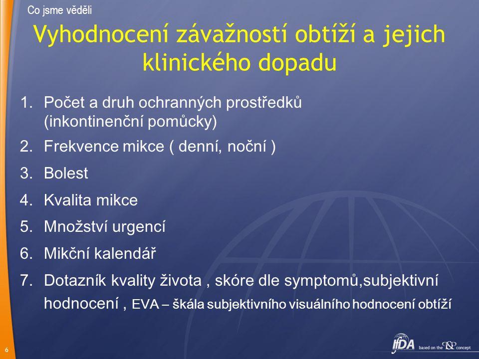 6 Vyhodnocení závažností obtíží a jejich klinického dopadu 1.Počet a druh ochranných prostředků (inkontinenční pomůcky) 2.Frekvence mikce ( denní, noč