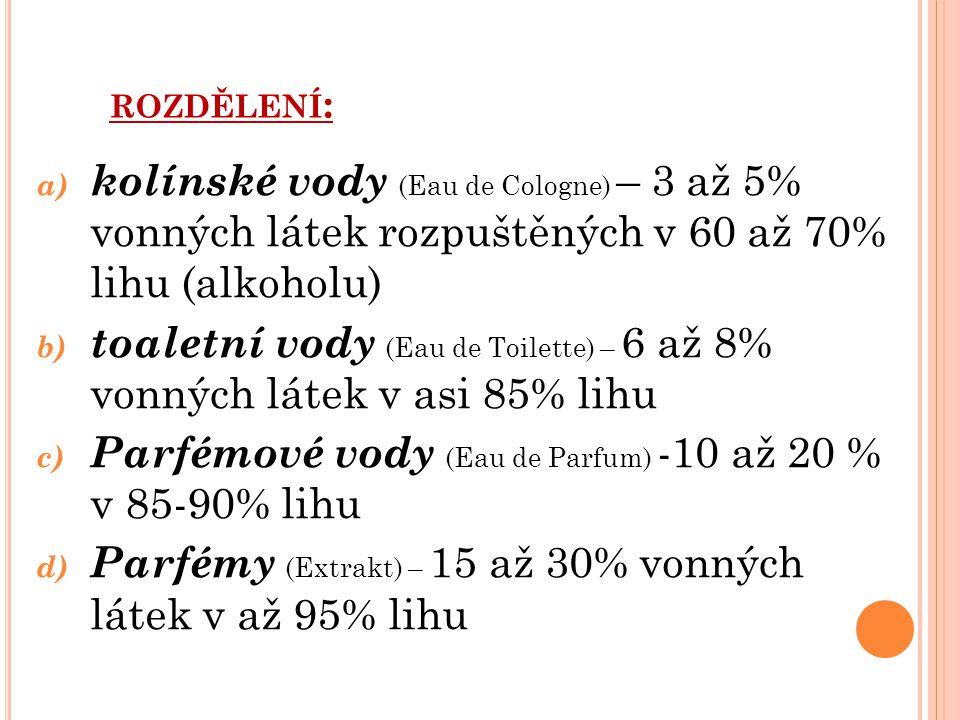 ROZDĚLENÍ : a) kolínské vody (Eau de Cologne) – 3 až 5% vonných látek rozpuštěných v 60 až 70% lihu (alkoholu) b) toaletní vody (Eau de Toilette) – 6