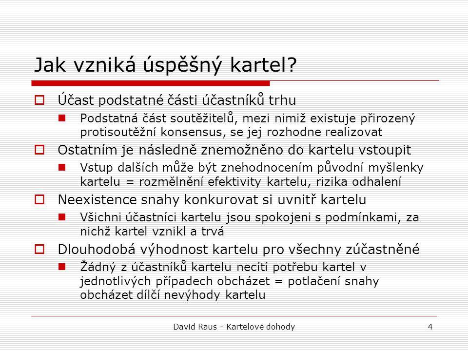 """David Raus - Kartelové dohody15 """"Evropská a """"vnitrostátní kartelová dohoda 1."""