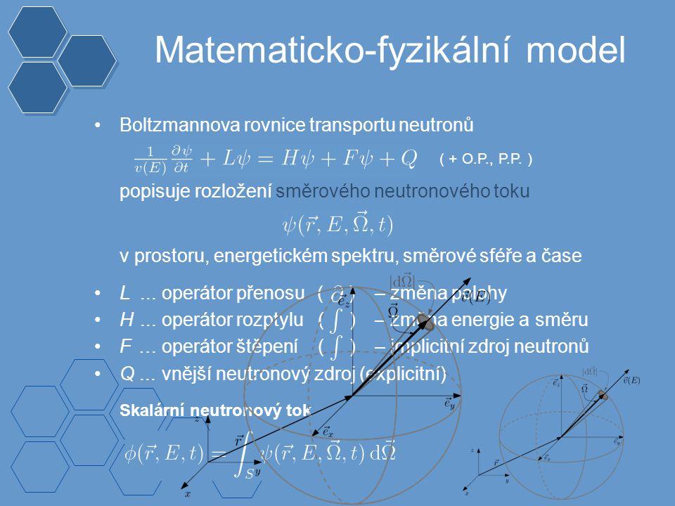 Skalární neutronový tok Boltzmannova rovnice transportu neutronů popisuje rozložení směrového neutronového toku v prostoru, energetickém spektru, směrové sféře a čase L...operátor přenosu ( ) – změna polohy H...operátor rozptylu ( ) – změna energie a směru F …operátor štěpen ( ) – implicitní zdroj neutronů Q...vnější neutronový zdroj (explicitní) Matematicko-fyzikální model í ( + O.P., P.P.