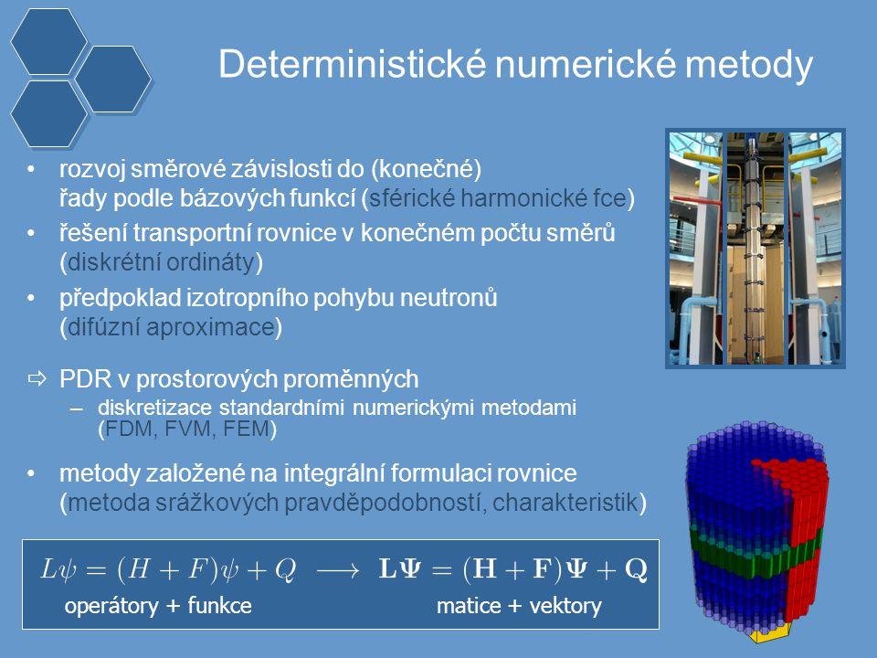 Deterministické numerické metody rozvoj směrové závislosti do (konečné) řady podle bázových funkcí (sférické harmonické fce) řešení transportní rovnice v konečném počtu směrů (diskrétní ordináty) předpoklad izotropního pohybu neutronů (difúzní aproximace)  PDR v prostorových proměnných –diskretizace standardními numerickými metodami (FDM, FVM, FEM) metody založené na integrální formulaci rovnice (metoda srážkových pravděpodobností, charakteristik) operátory + funkce matice + vektory