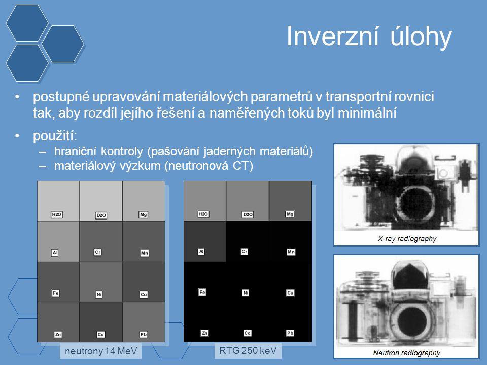 Inverzní úlohy postupné upravování materiálových parametrů v transportní rovnici tak, aby rozdíl jejího řešení a naměřených toků byl minimální použití: –hraniční kontroly (pašování jaderných materiálů) –materiálový výzkum (neutronová CT) neutrony 14 MeV RTG 250 keV