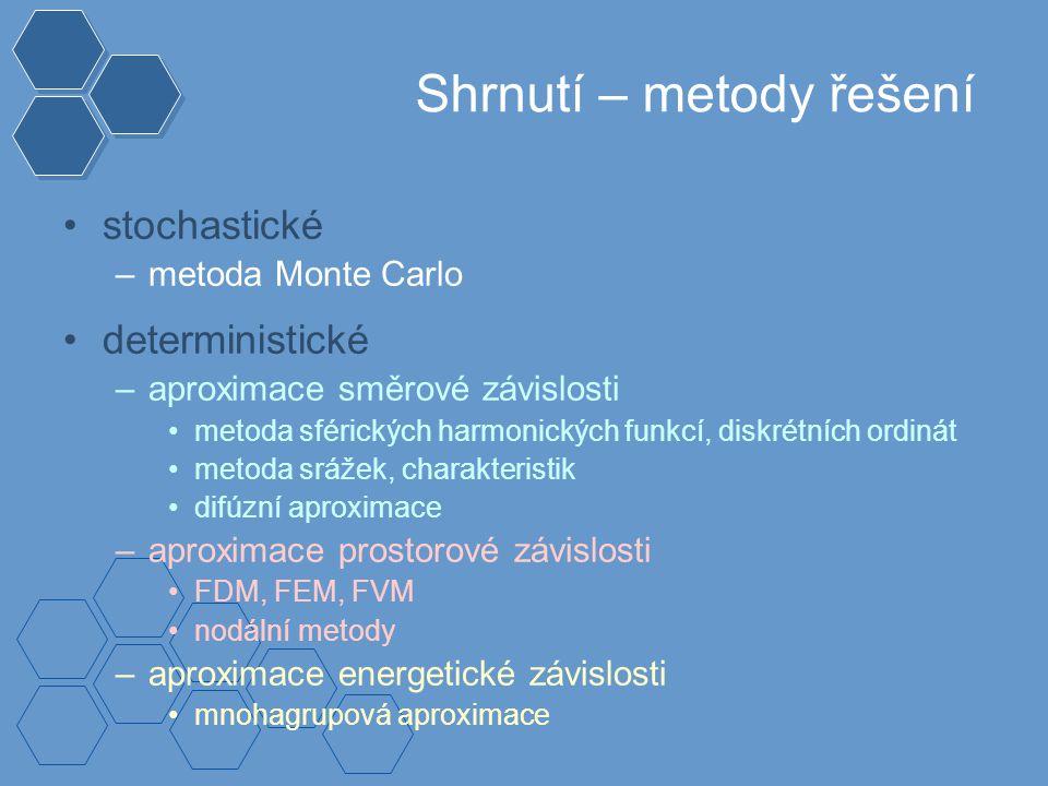 Shrnutí – metody řešení stochastické –metoda Monte Carlo deterministické –aproximace směrové závislosti metoda sférických harmonických funkcí, diskrétních ordinát metoda srážek, charakteristik difúzní aproximace –aproximace prostorové závislosti FDM, FEM, FVM nodální metody –aproximace energetické závislosti mnohagrupová aproximace