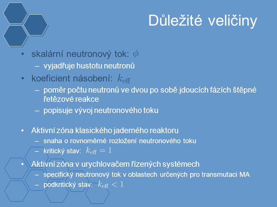 Důležité veličiny skalární neutronový tok: –vyjadřuje hustotu neutronů koeficient násobení: –poměr počtu neutronů ve dvou po sobě jdoucích fázích štěpné řetězové reakce –popisuje vývoj neutronového toku Aktivní zóna klasického jaderného reaktoru –snaha o rovnoměrné rozložení neutronového toku –kritický stav: Aktivní zóna v urychlovačem řízených systémech –specifický neutronový tok v oblastech určených pro transmutaci MA –podkritický stav:
