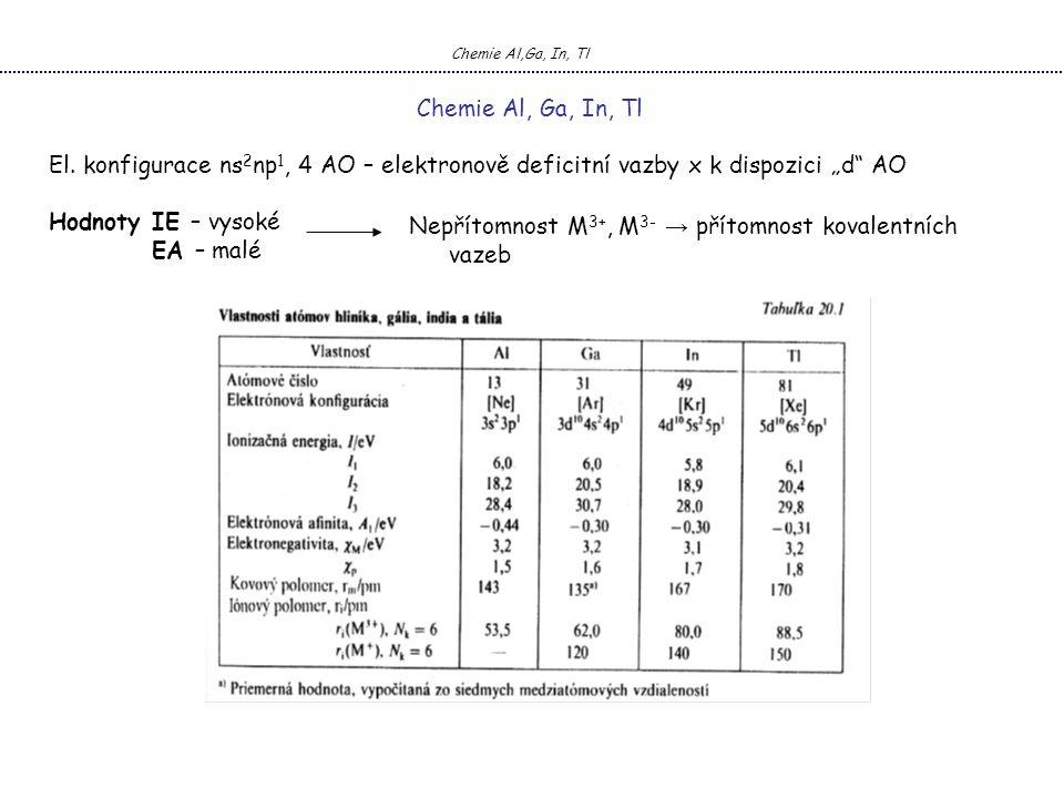 """El. konfigurace ns 2 np 1, 4 AO – elektronově deficitní vazby x k dispozici """"d"""" AO Hodnoty IE – vysoké EA – malé Chemie Al,Ga, In, Tl Nepřítomnost M 3"""